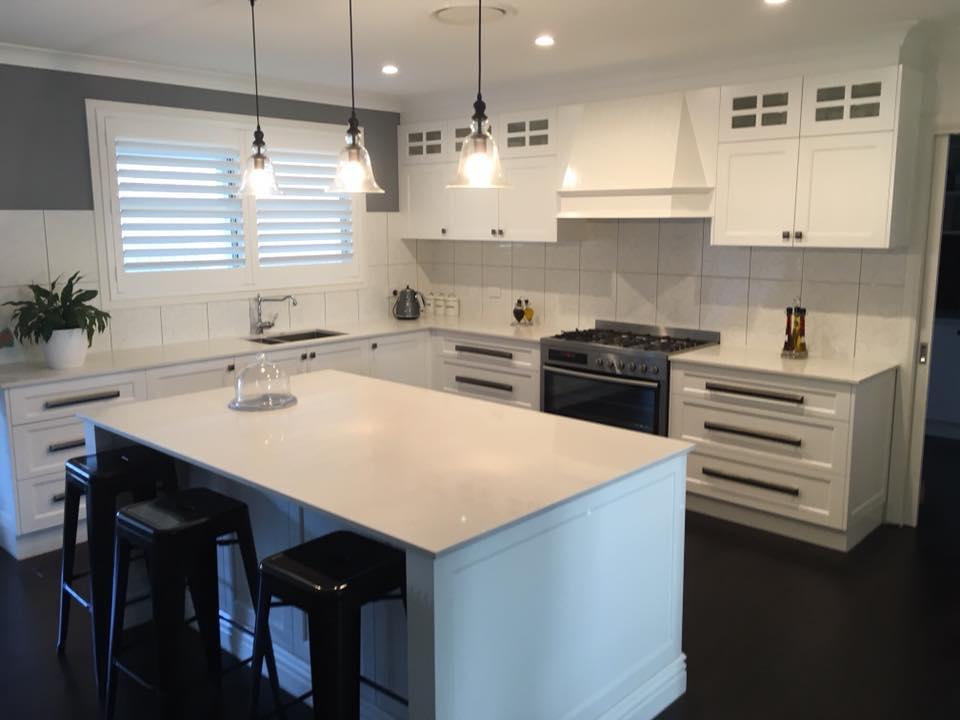 Stone benchtops in new kitchen